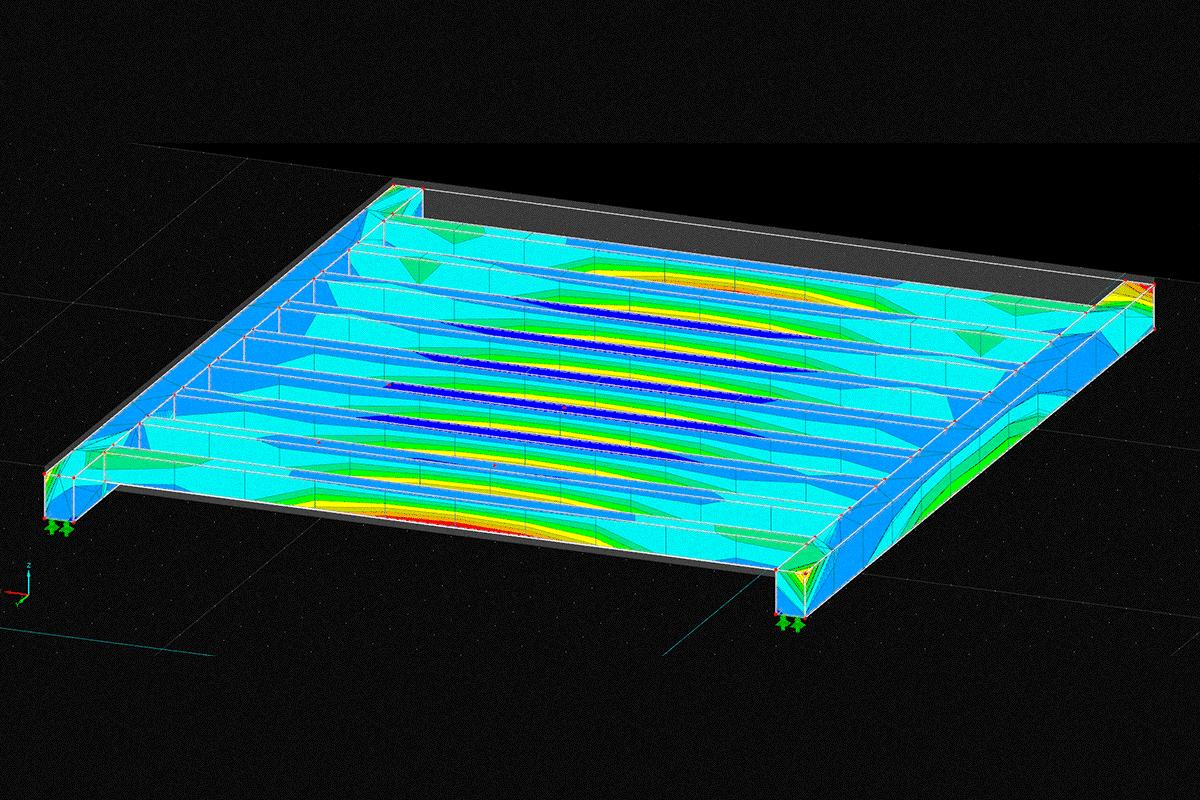 Hybride Statik einer Stahlbetonrippendecke
