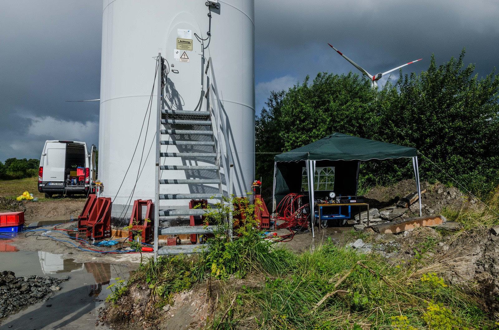 Lasteinleitung Hydraulik anheben Windkraftanlage