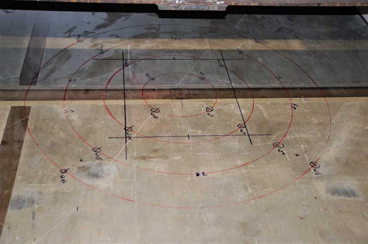 Lasteinleitung Messstellenpositionierung zur experimentellen Tragsicherheitsbewertung einer Bodenplatte